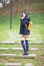 Navy-zara-coat-light-yellow-bag-brown-mini-skirt-navy-loafers
