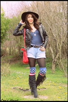 leather Eden boots - wool H&M hat - faux leather H&M jacket - texto bag