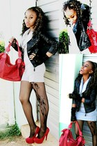 jacket - red leather bag Sotto bag - Zoom heels
