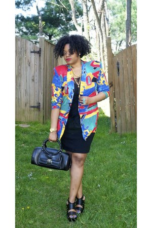 vintage blazer - Jimmy Choo bag - Forever 21 wedges - American Apparel skirt - H