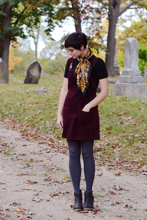vintage scarf - H&M boots - Gap dress - vintage shirt - simply vera tights