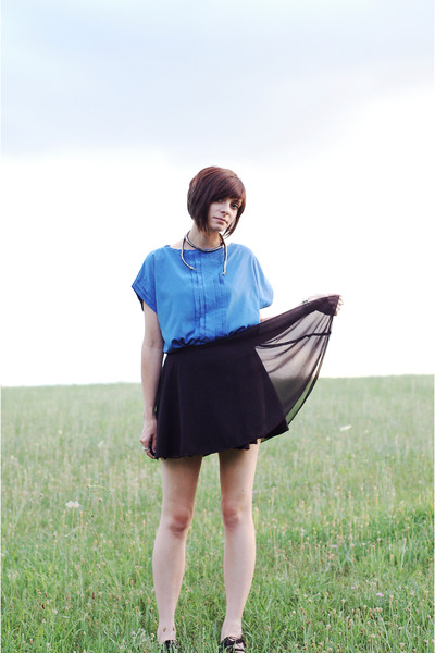 blue vintage shirt - black vintage skirt