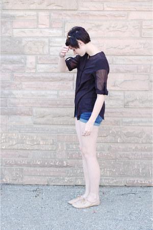 tan oxford Steve Madden shoes - navy shorts - black sheer OASAP blouse