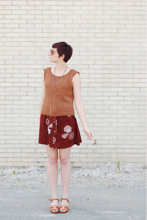 brick red batik dress - bronze vintage sweater