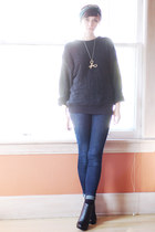 black vintage sweater - navy Levis jeans - green Liberty scarf - black wedges