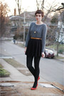 Heather-gray-oasap-sweater-black-vintage-skirt-red-express-wedges