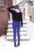 blue reconstructed vintage jeans - black H&M sweater - black wedges