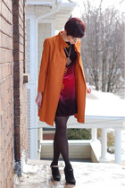 black dress - orange vintage coat - black Dana Buchman heels