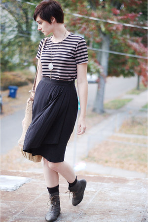 striped shirt - DSW shoes - purse - skirt