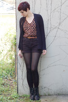 black vintage shorts - black CAT boots - black vintage cardigan
