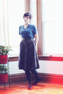 Blue-thrifted-blouse-dark-gray-plaid-1940s-skirt
