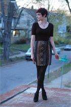 brown tribal The Limited skirt - black H&M shirt - black Dana Buchman heels