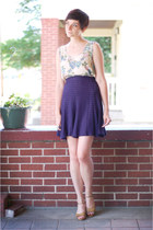 blue vintage skirt - off white floral vintage shirt - dark khaki vintage sandals