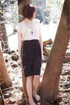 pink Forever 21 shirt - gray vintage skirt - brown shoes