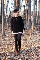 eggshell crochet shorts - bronze boots - black thrifted sweater