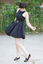 black reconstructed vintage dress - black cat loafer flats