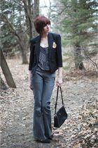 black vintage blazer - gray pants - black top - black vintage shoes - black purs
