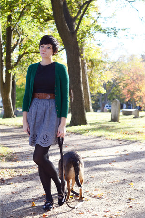 vintage sweater - Sugarlips dress - vintage belt - thrifted loafers