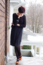 bronze vintage sandals - black H&M sweater - gray skirt
