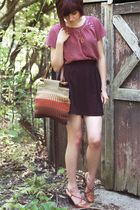 pink vintage top - brown snake skin Ralph Lauren shoes - black Target skirt