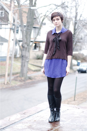 blue thrifted dress - black vintage boots - dark brown H&M shirt