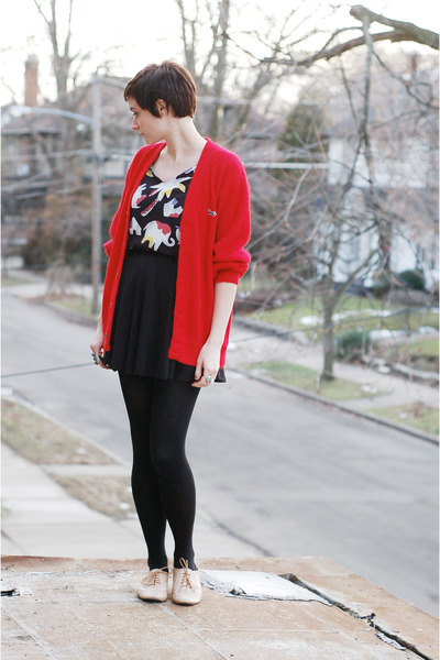 tan Steve Madden shoes - black vintage skirt - red vintage cardigan