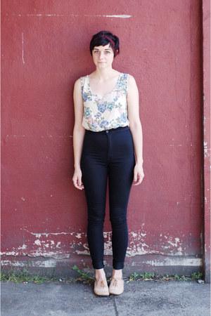 black high waisted jeans - tan Steve Madden shoes - ivory floral vintage top