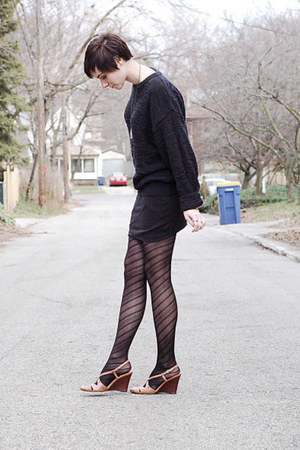 black sweater - black skirt - bronze snake skin Ralph Lauren wedges