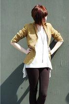 yellow vintage blazer - black vanilla star pants - gray Ana top