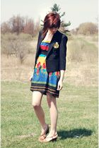 black vintage blazer - brown Ralph Lauren shoes - vintage dress