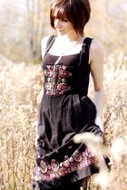 black embroidered vintage dress