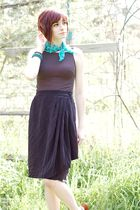black unknown top - gray vintage skirt - blue unknown scarf
