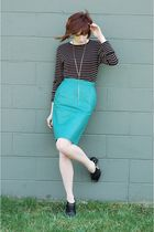 blue vintage skirt - black Express top - black Madden Girl shoes