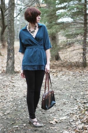 blue simply vera wang blouse - black pants - black vintage purse - gray shoes