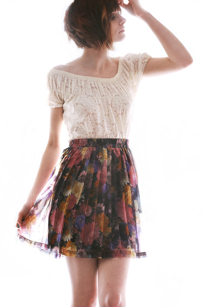 white lace unknown top - vintage skirt