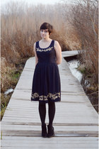 black Diba boots - navy embroidered eShakti dress