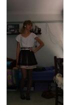 cotton on t-shirt - Forever New skirt - belt - Dotti shoes