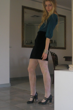 Sportsgirl top - Second-hand Matthew Eager skirt - columbine tights - zu shoes