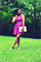 hot pink Forever 21 dress - periwinkle sequins clutch H&M bag