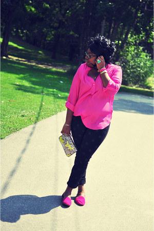 yellow clutch Topshop bag - black polka dots Forever 21 pants