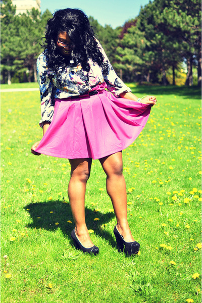 hot pink asos skirt - heather gray floral print asos blouse