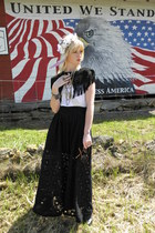 maxi evil twin skirt - Bear Cat Vintage jacket - LoveIt Jewelry accessories