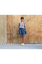 black Paula Cahen DAnvers shirt - blue Zara shorts - yellow Keds shoes