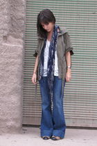 green maria lombardi jacket - white from Thailand shirt - blue kosiuko jeans - b