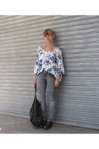 blue Zara shirt - gray maria vazquez jeans - black mishka shoes - black Doma pur