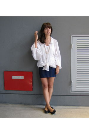 blue Complot skirt - white vintage blouse - black sibyl vane shoes