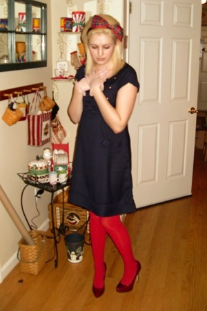 Silence & Noise dress - Target tights - Aldo shoes - handmade accessories - vint