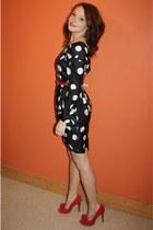 black polkadot Littlewoods Fern Cotton dress - red rose River Island heels - red