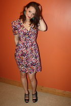 pink Awear dress - green leaf Topshop earrings - navy strappy heels Newlook heel