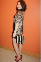 black sequin body con Republic dress - black River Island bag - tawny leopard pr
